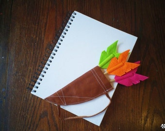Set of Three Felt Arrow Pencil Toppers with Leather Quiver