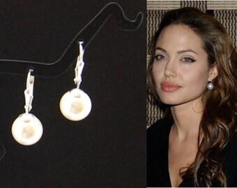 Drop Pearl Earrings, Silver 10 mm White Pearl Drop Earrings, Sweet 16, Large Pearl Earrings, Angelina Jolie Wedding Jewelry, Bridesmaid Gift