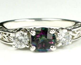 Mystic Fire Topaz w/ Two 4mm CZ Accents, 925 Sterling Silver Engagement Ring, SR254