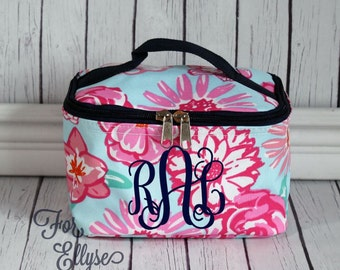 Vintage Floral Cosmetic Bag - Personalized or Monogrammed