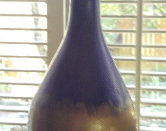 I Dream of Jeannie / GENIE Bottle Hand Painted Purple and Gold upcycled glass bottle Hand Crafted