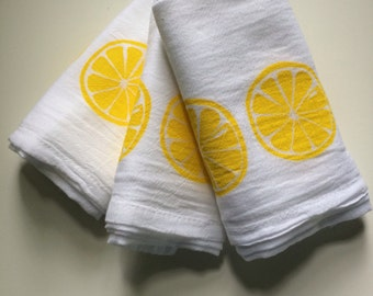 Lemon Kitchen Towels Flour Cloth Set Of 3 Hand Screened In Yellow