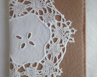 Notebook - A6 - Doily - Wool Felt - Re-purposed - Journal