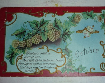 Unique October Birthday  Antique Postcard