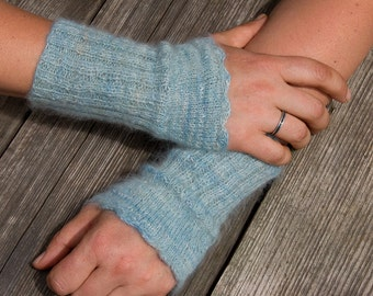 Pale blue. Lace. Arm Warmers. Hand spun. Hand knitted. Seidenhase. Pure Angora.