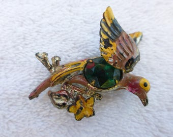 Vintage early plastic bird brooch enamel and green cabochon AH91