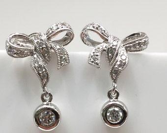 14K White Gold Diamond Bow Earrings
