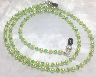 Peridot Crystal & Green Faux Pearl Eyeglass Sunglass Chain Holder #631