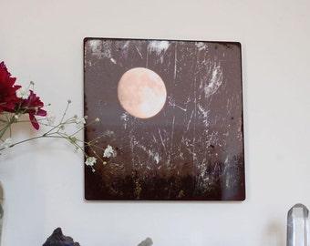 Emergence, Metal panel, Moon Photograph on aluminum, Waxing Moon in grey sky, winter sky, aluminium high gloss gray & gold wall art,