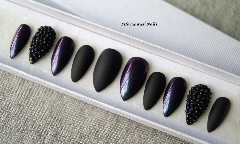 Chrome Nails Black Matte Stiletto Nails Press on Nails
