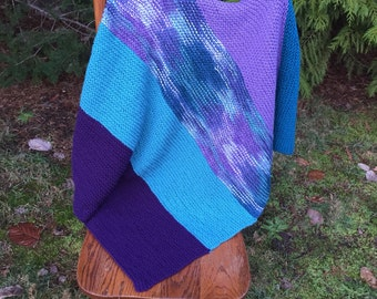 Bold beautiful lap/baby blanket turqoise, teal and purple