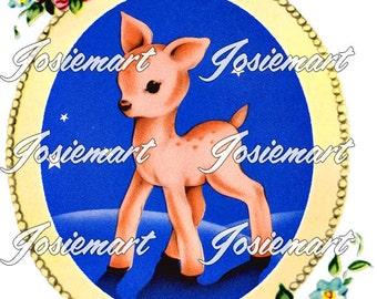 Vintage Digital Download Deer in Frame with Stars Image Collage Large JPG and PNG