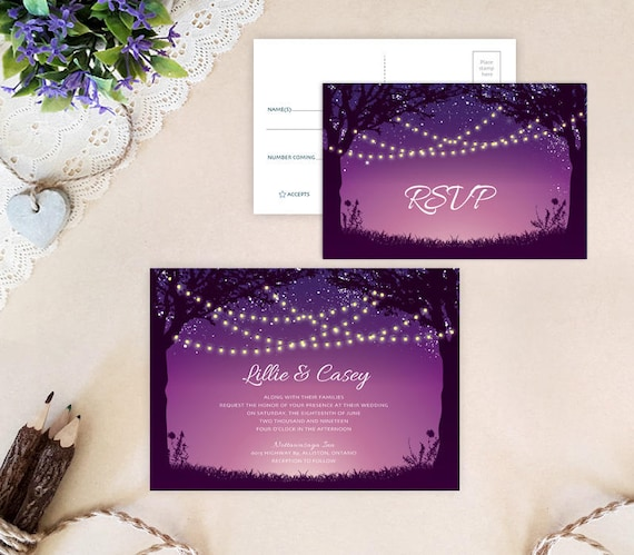 String Lights Wedding Invitation And RSVP Card Printed