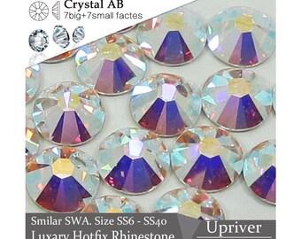 14 Facets Crystal AB Hotfix Rhinestones, 7 Big +7 Small Facets, 99% Similar SWA, Crystal AB Flatback Rhinestones, Craft Supplies FRA01