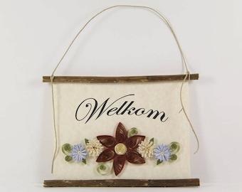 Welkom, Dutch Welcome, Paper Quilled Netherlands Welcome Sign, 3D Quilled Banner, Brick Cream Blue Decor, Netherlands Gift, Dutch Wall Art