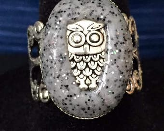 Owl Ring - Handmade Polymer Clay  Filigree Owl Ring - Adjustable