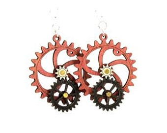 Gear Earrings that move - made from wood - hugo steampunk style #5001F