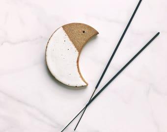 Incense Holder / Ceramic Crescent Moon Incense Burner