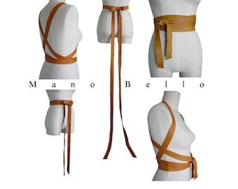 Versatile leather harness belt, Long Bow Belt, Street style Leather Body Harness, Honey Tan, Leather Wrapping Strap Belt, Wedding Dress Belt