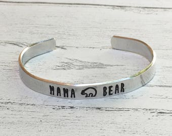 Mama Bear Cuff Bracelet - New Mom Jewelry - Custom Cuff - Personalized Silver, Gold or Rose Gold Cuff, Baby shower gift for Mother, Mom Gift