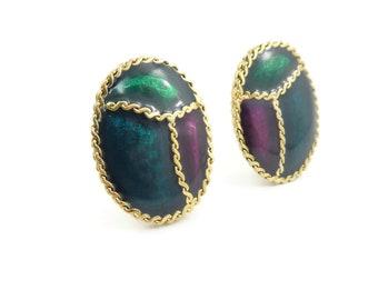 Vintage Oval, Enamel Earrings, Gold Tone, Clip Ons