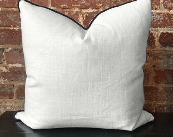 "White Linen Pillow w/ Navy Cording - 20"" x 20"""