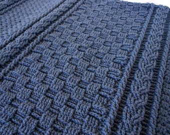 Crochet afghan navy blue cables basket weave solid color home decor lap blanket couch throw textured braids coverlet washable