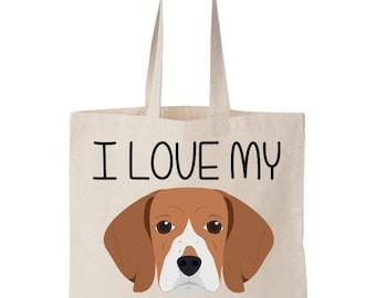 I Love My Beagle Canvas Tote Bag