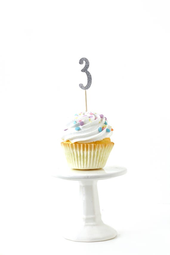 Number 3 Silver Glitter Cupcake Toppers, Number 3 Toothpicks, Silver Party Decor, Food Decoration, Third Birthday 3rd Birthday Three