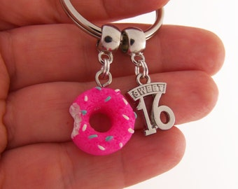 Sweet 16 keychain, daughter's first car gift, 16th birthday gift for girl, 16th birthday keychain, 16 birthday gift, 16 birthday keychain