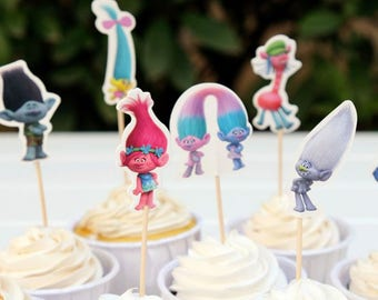 READY To SHIP Trolls Inspired Cupcake Toppers, Toppers, Picks, Cake Toppers, Cake Topper Pick, Cupcake Picks, Birthday