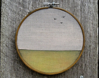 """A Fine Day for Flying 5"""" round watercolor painting on linen"""