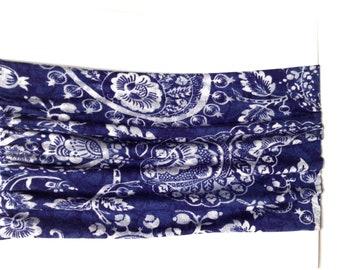Blue and Grey Paisley Print Boho Headband