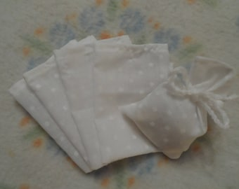 SET of 5 small bags for baptism, Communion, wedding favors...