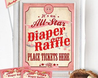 Girls Baseball Diaper Raffle Set - INSTANT DOWNLOAD - Printable Ballgame All-Star Baby Shower Poster, Sign, Tickets, Rockford Peaches