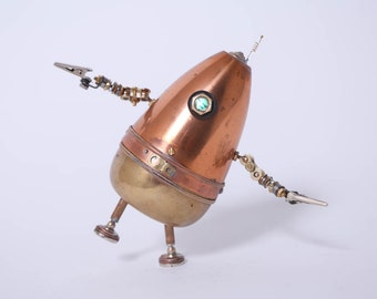 Hand Crafted Steampunk Robot,  Eggbot, Copper, Brass, Repurposed, Hand Made, Up Cycled Art, Up-Cycled
