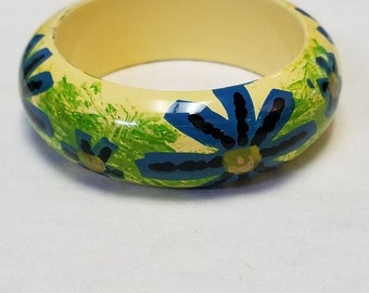 CHUNKY wooden hand painted flowered bracelet