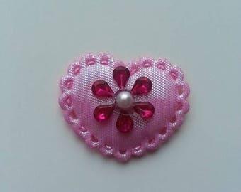 applique  coeur  strass rose et rose fuchsia  37*30mm