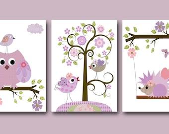 Art for Children Kids Wall Art Baby Girl Room Decor Baby Nursery Decor Baby Girl Nursery Print set of 3 Print Kids Room Owl Decoration