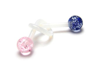 Flexible Sports or Pregnancy Belly Ring. Several Colors! UltraFlex bar with 5mm glitter balls.