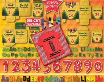 Crayola T-Shirt, Crayola Die-Cut Templates, Crayola Box, Crayola SVG, Crayon T-shirt, Crayon SVG