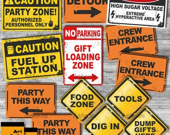 Construction Party Signs, Construction Birthday, Construction Party Printables, Construction Signs, Road Signs, Instant Downloads RP-62