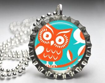 Owl pendant Necklace - Bottelcap Pendant Necklace - Free Ball Chain