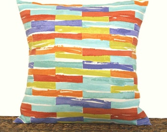 Abstract Stripes Outdoor Pillow Cover Cushion Mustard Indigo Turquoise Red Orange Green Beach Decor Decorative 18x18