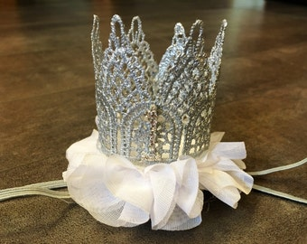 Silver lace crown headband, silver and white or any color first birthday crown