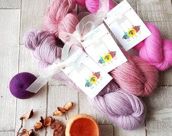 Alpaca yarn, hand dyed alpaca yarn, 4ply alpaca yarn, DK alpaca yarn, pink alpaca yarn, purple alpaca yarn, alpaca yarn, aqua alpaca yarn.