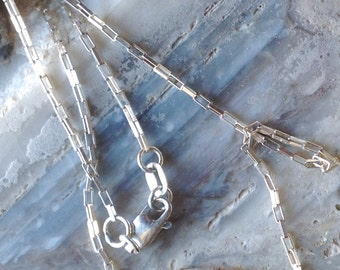 Elongated Box Sterling Silver Chain Necklace. Spring Clasp.