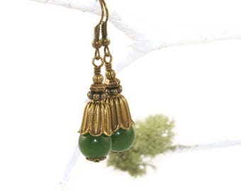 Greenstone & Brass Drop Earrings, Beautiful Nephrite Jade Jewelry
