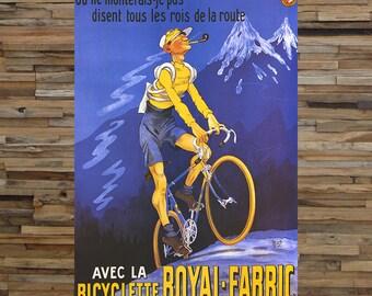 Bicyclette Royal Fabric Vintage Ad, Vintage Bicycle Ad, Vintage Art, Giclee Art Print, fine Art Reproduction