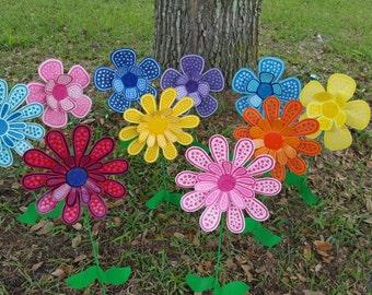 Wonderful Set Of 10 Flower Garden Stake, Garden Art, Metal Flower Stake, Garden  Decorations